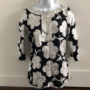 Tory Burch Black/Metallic Silver Tunic Top 4